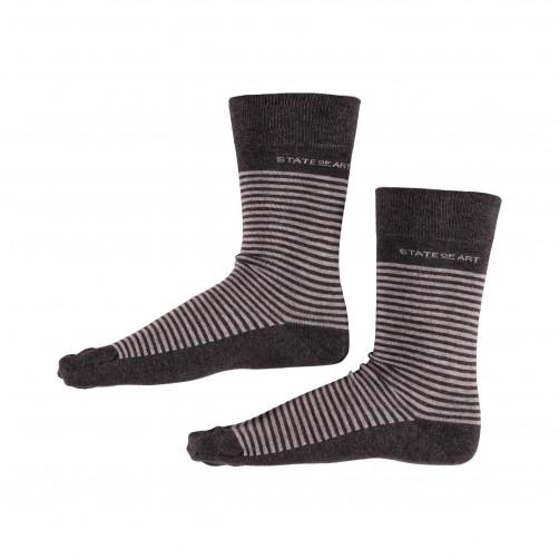 Socken,-Streifen---dunkel-anthraz./silbergrau