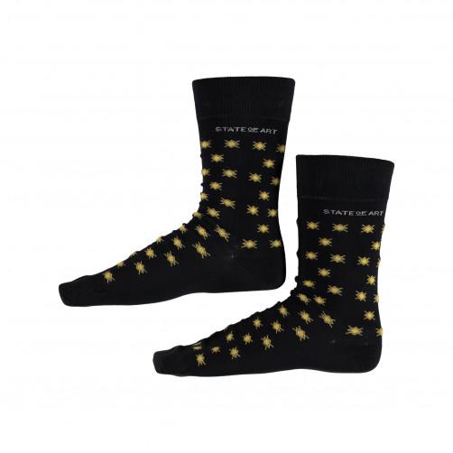 Socken,-Druck---dunkelblau/goldgelb