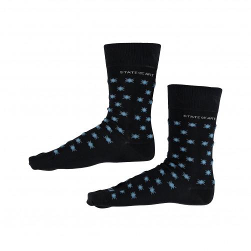Socken,-Druck---dunkelblau/wasserblau