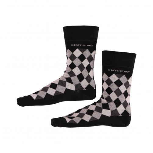 Socken,-kariert---schwarz/dunkel-anthraz