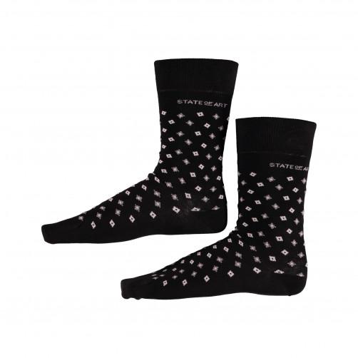 Socken,-Druck,-Elasthan---schwarz/silbergrau