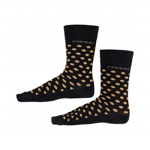 Socken,-Druck,-Stretch---dunkelblau/goldgelb