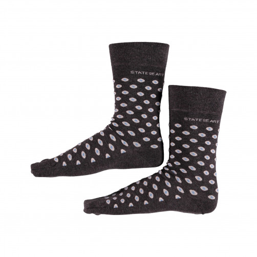 Socks-with-Print-and-Stretch---charcoal/light-yellow