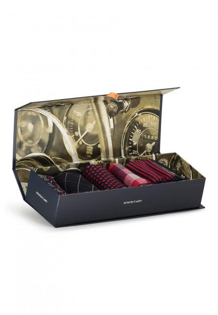 Geschenkbox-mit-5-Paar-Socken---rot-uni