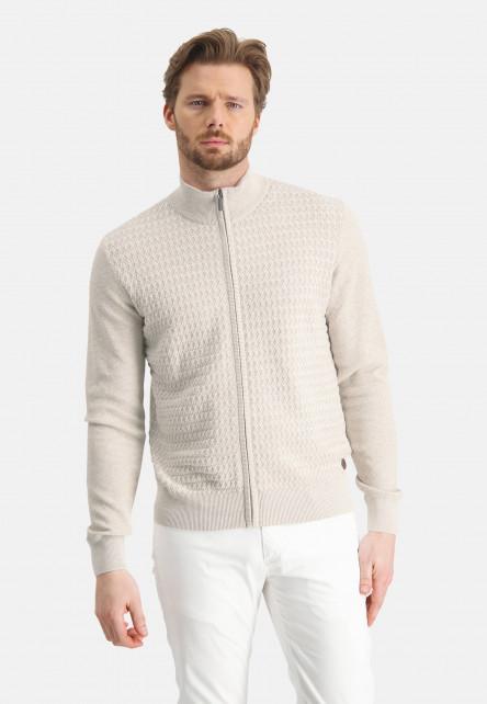 Cardigan-Plain-with-zipper-closure---greige/sand
