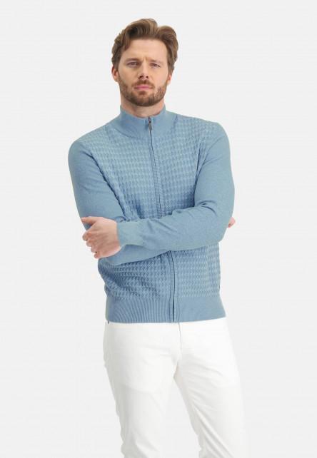 Cardigan-Plain-with-zipper-closure---mid-blue/grey-blue
