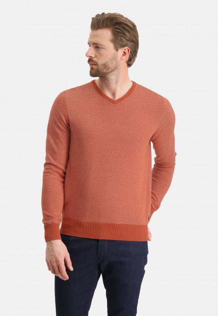 Jacquard-jumper-with-V-neck---brick/greige