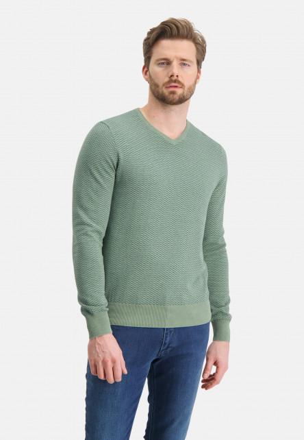 Jacquard-jumper-with-V-neck---emerald-green/grey-blue