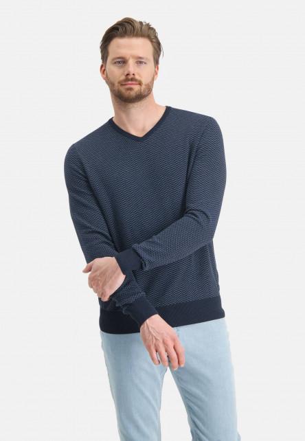 Jacquard-jumper-with-V-neck---navy/grey-blue