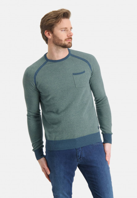Jumper-jacquard-with-crew-neck---grey-blue/emerald-green