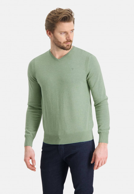 Jumper-of-organic-cotton-with-brand-logo---leafgreen-plain