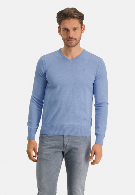 Jumper-of-organic-cotton-with-brand-logo---blue-plain