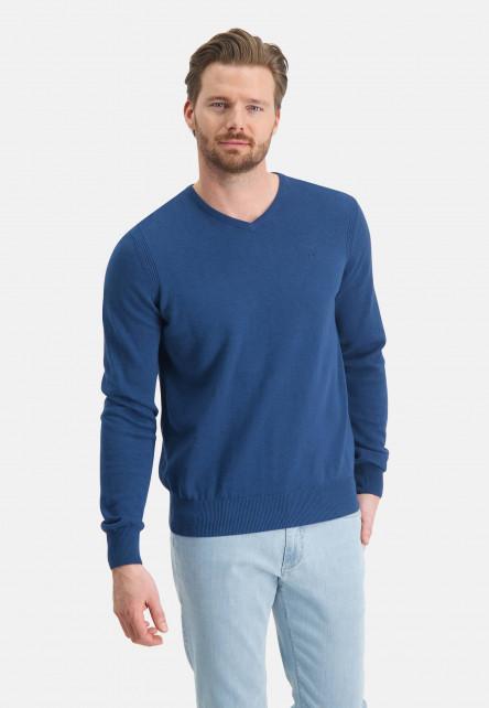 Jumper-of-organic-cotton-with-brand-logo---cobalt-plain