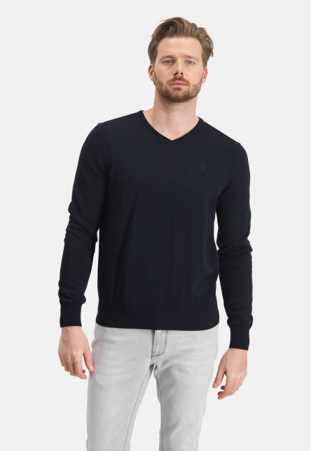 Jumper-of-organic-cotton-with-brand-logo---dark-blue-plain