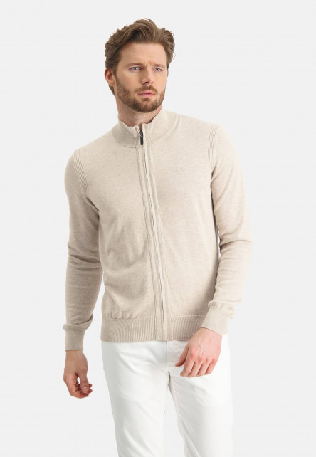 Cardigan-of-organic-cotton---sand-plain