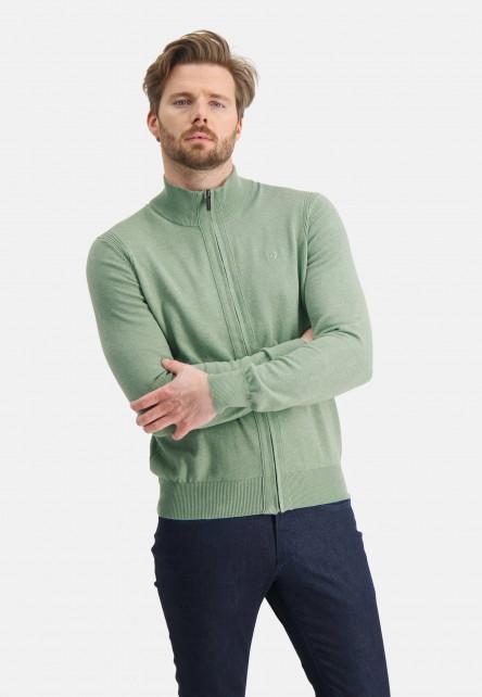 Cardigan-of-organic-cotton---leafgreen-plain
