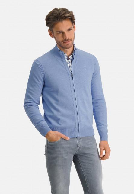 Cardigan-of-organic-cotton---blue-plain