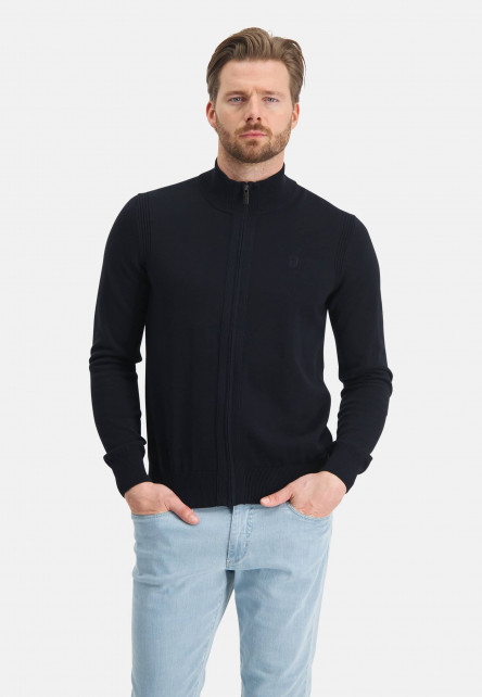 Cardigan-of-organic-cotton---dark-blue-plain