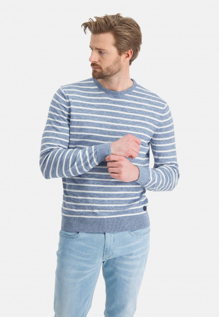 Striped-jumper-with-crew-neck---mid-blue/greige