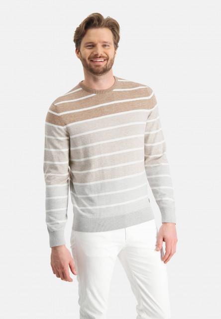 Striped-jumper-with-crew-neck---khaki/sand