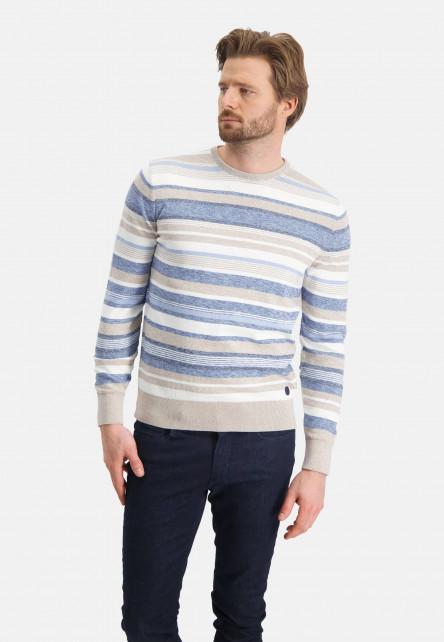 Cotton-jumper-with-stripes---lightgrey/greige