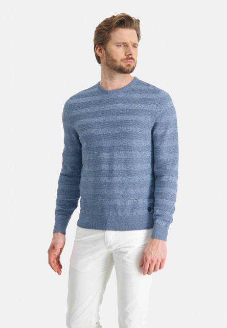 Jumper-mouliné-with-crew-neck---mid-blue/grey-blue