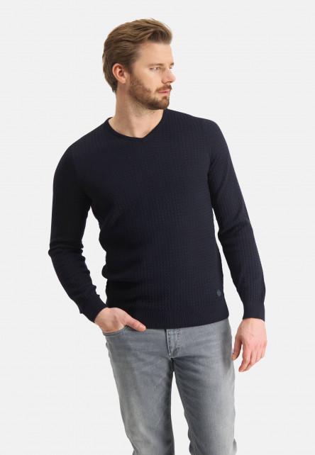 Jumper-with-V-neck-of-blended-cotton---dark-blue-plain