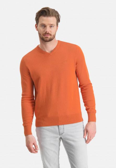 V-neck-jumper-with-a-regular-fit---brick-plain