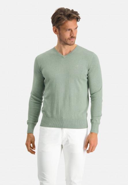 V-neck-jumper-with-a-regular-fit---leafgreen-plain