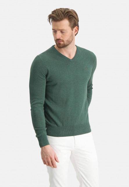 V-neck-jumper-with-a-regular-fit---dark-green-plain