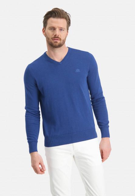 V-neck-jumper-with-a-regular-fit---cobalt-plain