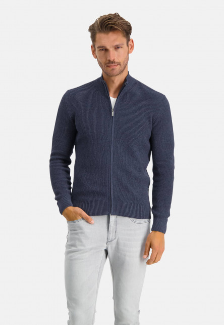Cardigan-of-recycled-cotton---navy-plain