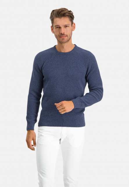 Jumper-of-blended-recycled-cotton---dark-blue-plain