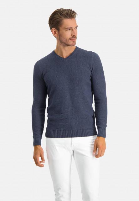 V-neck-jumper-of-blended-recycled-cotton---navy-plain
