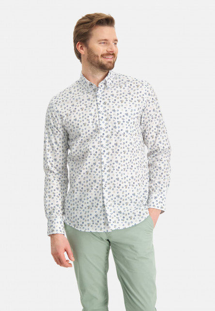 Shirt-with-print-and-chest-pocket---cobalt/emerald-green
