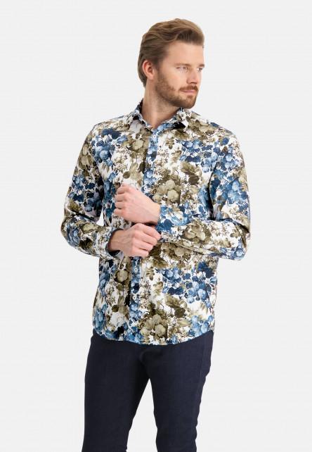 Shirt-with-a-botanic-print---cobalt/emerald-green