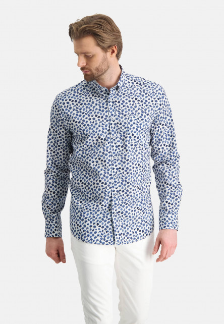 Cotton-shirt-with-stretch---cobalt/white