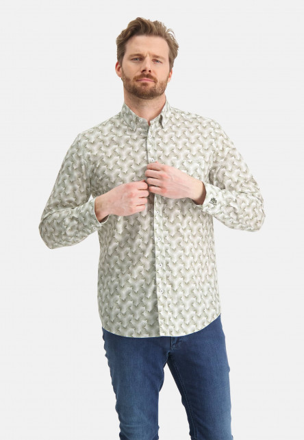 Shirt-with-all--over-print---emerald-green/white