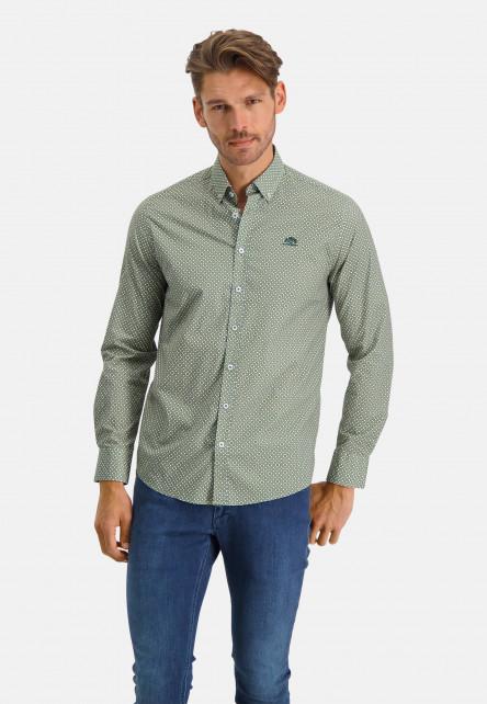 Cotton-shirt-with-stretch---sulphur/emerald-green