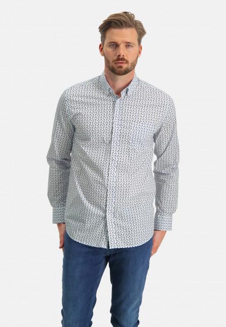 Shirt-with-graphic-print---cobalt/sand