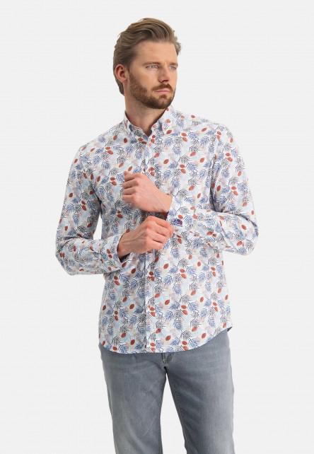 Shirt-with-a-botanic-print---brick/sand