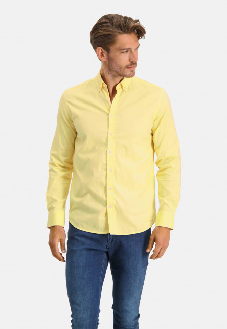 Cotton-shirt-with-stretch---light-yellow/white