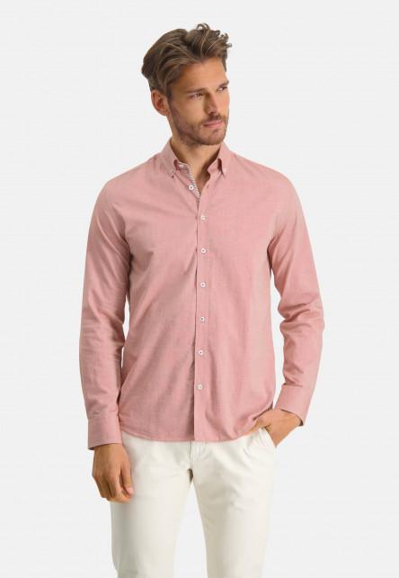 Cotton-shirt-with-stretch---brick/white