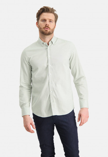 Cotton-shirt-with-stretch---emerald-green/white