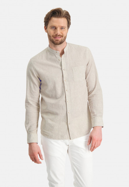 Shirt-with-stripes-and-stand-up-collar---sand/white
