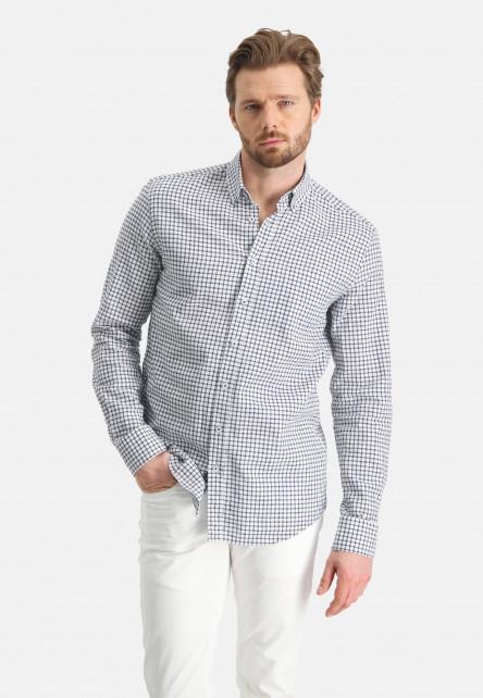 Checked-shirt-of-a-linen-blend---cobalt/white