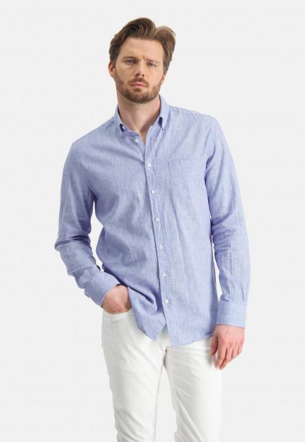 Shirt-of-a-linen-blend---white/grey-blue