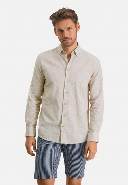Shirt-of-a-linen-blend---white/cognac