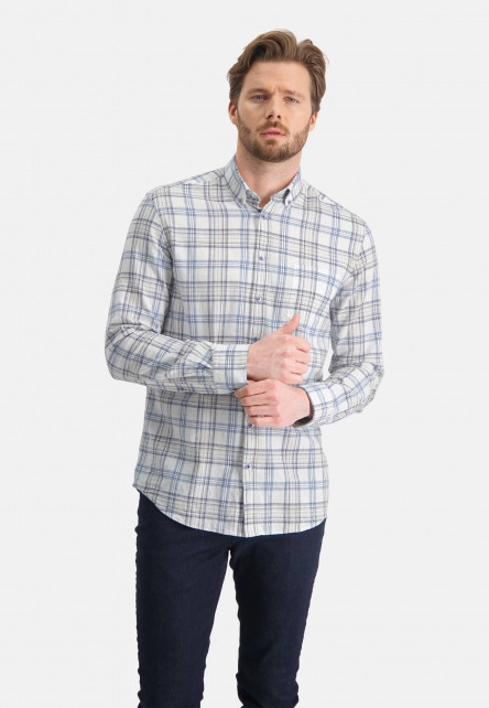 Shirt-of-cotton-with-a-checked-pattern---sand/cobalt