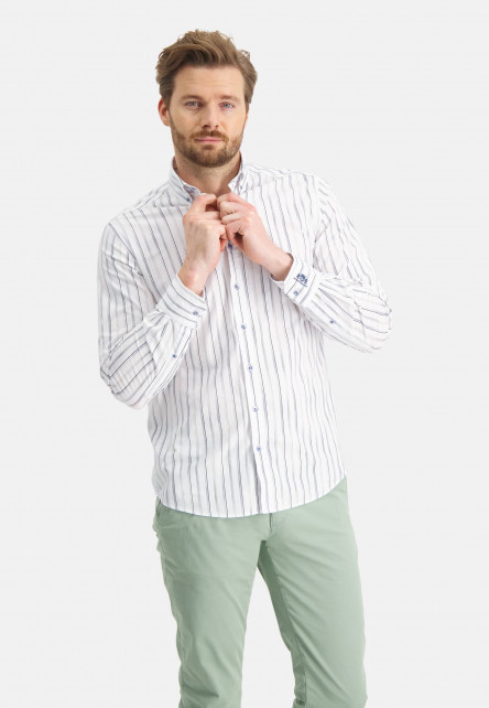 Shirt-with-printed-stripes---emerald-green/grey-blue